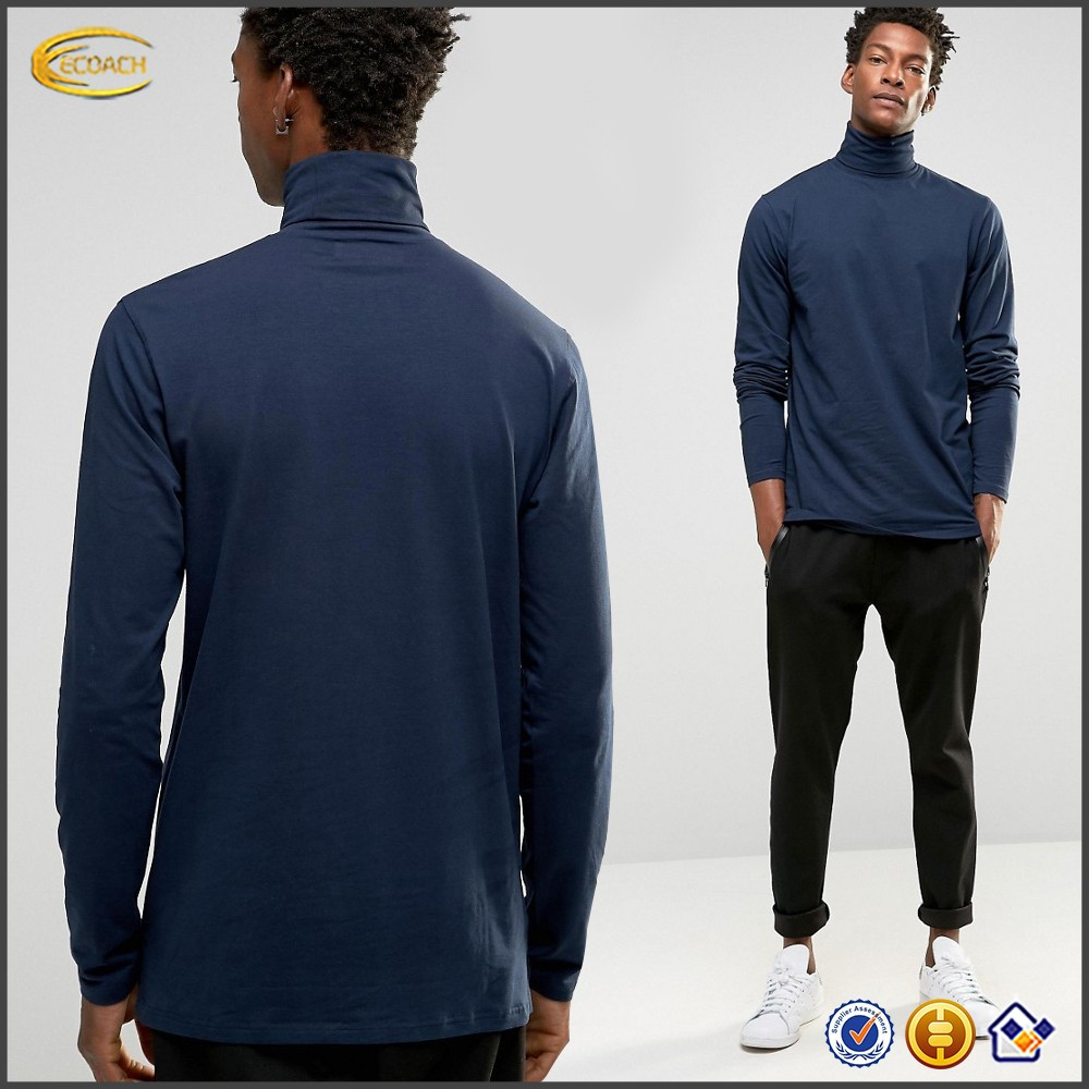 Ecoach wholesale men long sleeve roll neck regular fit jersey cotton t-shirt custom logo blank design casual blouse for man