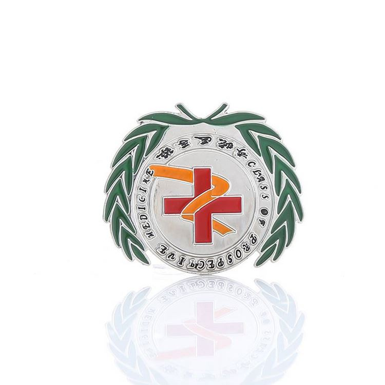 High And Custom Red Cross Printed Casting Zinc School Badges