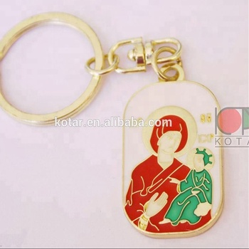 rectangle shaped theotokos logo keyring witn enamel