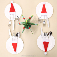 Christmas Hat Cutlery Bag Candy Gift Bags Table Setting Christmas Decor Cute Pocket Fork Knife Holder Table Linens Decoration