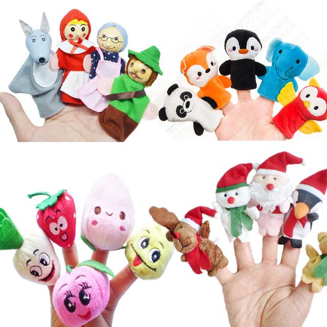 Custom High Quality Plush Mini Gorilla/Lion/Goat/Family/Fruit/Animal Hand Glove Finger Puppet For Children