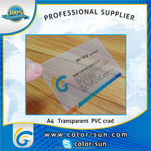 Printable transparent PVC business card for Epson printer with A4 size