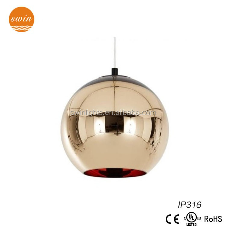 hot selling industrial plated glass pendant light/lamp for dinning room IP316