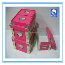 Rectangle Foldable Paper Gift Box with metal handle, metal button, metal corner and PVC Window