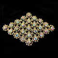 flat back sew on garment crystal rhinestone large brooch applique for women dresses