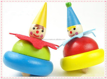 Clown doll wooden spinning top toy