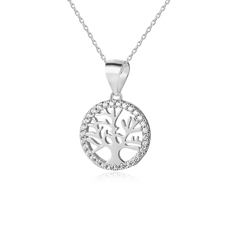 POLIVA Real 925 Sterling Silver Tree Jewelry <strong>Charms</strong>, Fashion Wholesale Jewellery Crystal Stone Tree of Life Pendant
