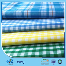 Garment dyeing cotton polyester dyed yarn plaid fabric of recycled yarn