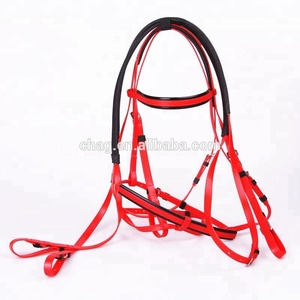 horse equipment red flexible horse bridle and rein