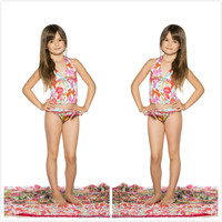 Cute sexy kids swimwear for girls, teen girls one piece swimsuit