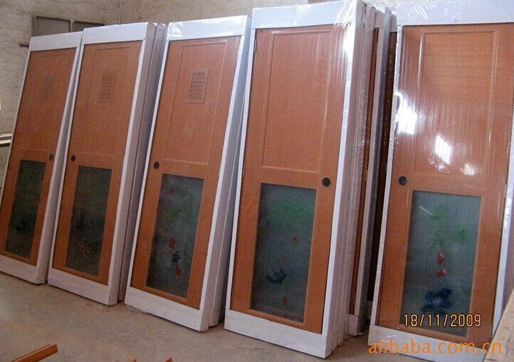 P017 cheap pvc plastic bathroom doors half glass buy for Cheap pvc door