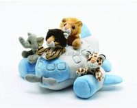 "12"" Airplane House Plush Stuffed Animal Toy / Stuffed Animal Toy Riding in Plane /Soft Animal Toy with Plush Plane"