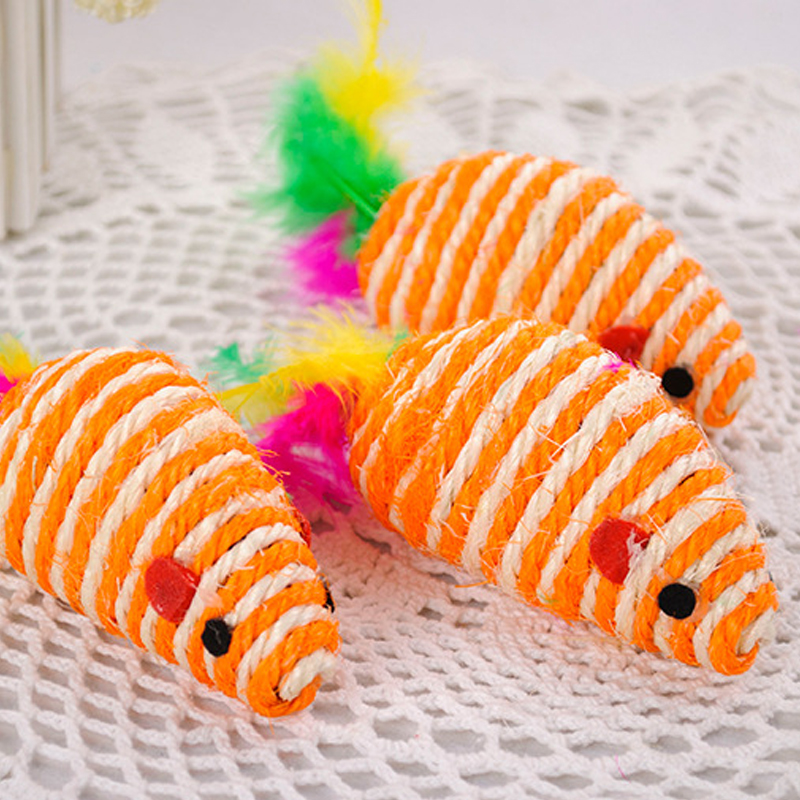Colorful Cute Sisal Mouse Squeak Sound Cat Toy