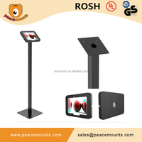 Charging wire go through the stand tube 45 degrees tilting floor standing flexible laptop stand
