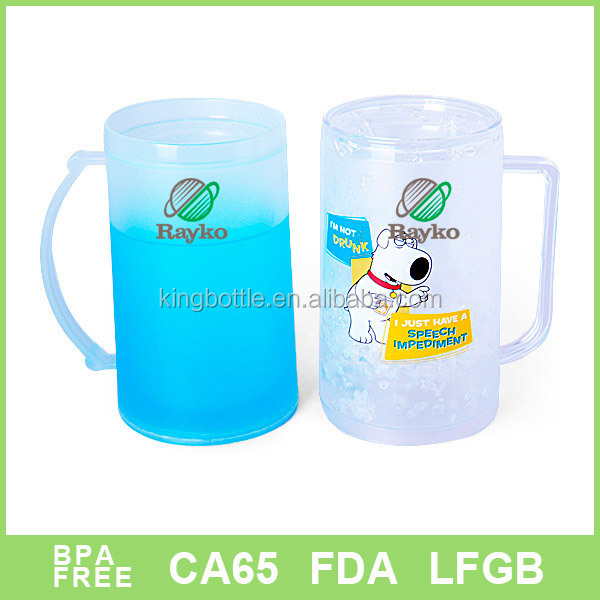 Double wall 16oz 450ml Crystal Freezer Mug with handle plastic frosty mug