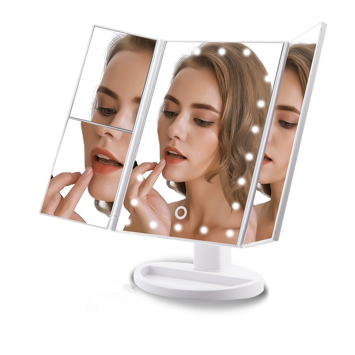 Special Color Champagne Gold Led Vanity Mirror Trifold Compact Makeup Mirror
