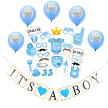 Blue Boy Babyshower Banner Sash Balloon It's A Boy Banner