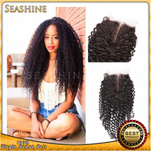Qingdao Factory Top grade 100 virgin brazilian curly hair cheap middle part lace closure in stock