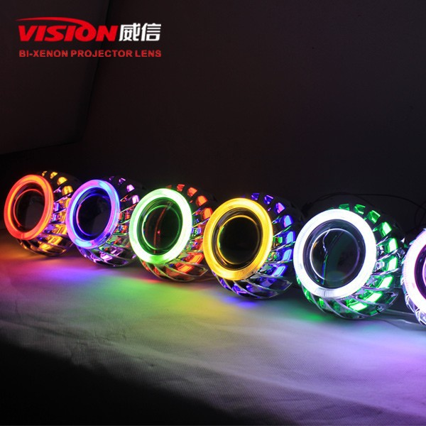 2015 New Bi-xenon HID projector lens with double angel eyes