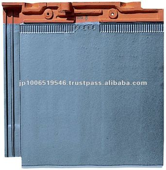 Japanese glazed clay roofing tile Flat type ( CERAM FF Matte Silver Black color )