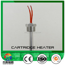 Right angle cartridge heater with metal hose and metal braided wire