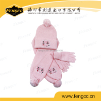 Customized design fashion knitted set, scarf, hat, gloves