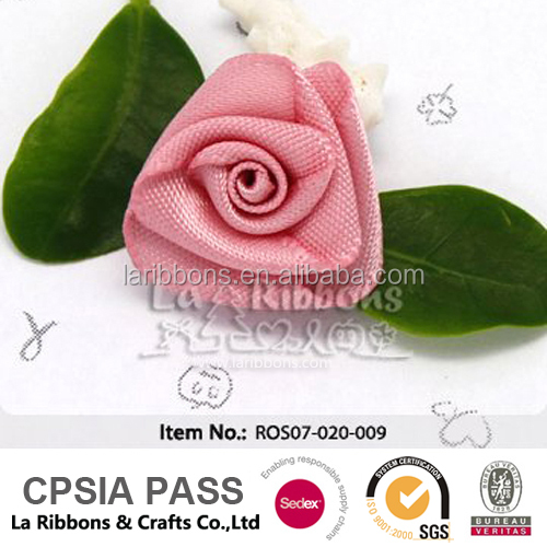 Handmade triangle satin ribbon rosette with leaf for garment accessory
