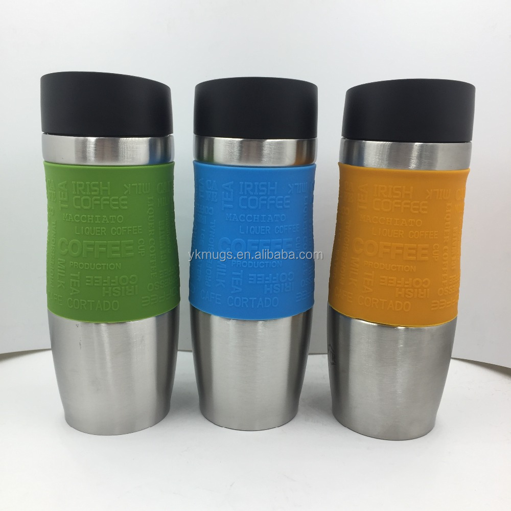 EMSA double wall stainless steel vacuum mug, thermal mug, travel mug with silicone in the middle