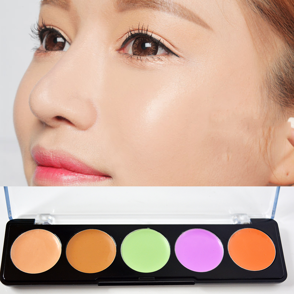Pefect 5 Colors Girl Makeup Camouflage Concealer Palette Contour Eyes Face Cosmetic Tools