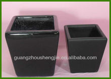 Handmade Black Stone Square Garden Resin flower pot