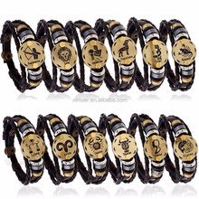 Fashion alli express wholesale bracelet zodiac mens bracelet men leather bracelet