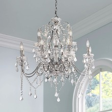 11.2-1 chains and pendants provide plenty of sparkle Gleaming chrome silver finish frame Crystal Grand Chandelier