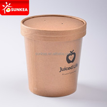 Customized printing PE coated paper soup cup with lids