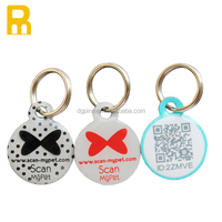 Epoxy ID dog tag qr code with butterfly