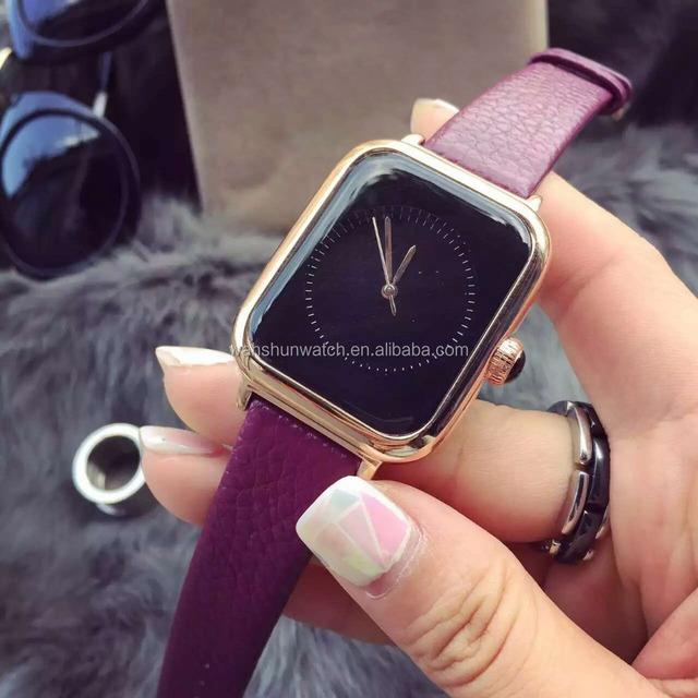 Wholesale smart watch quartz movement Square korea hand made watch Dia Jenuine leather strap wrist watch