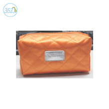 fashion top quality satin orange clutch cosmetic bag makeup pouch bag
