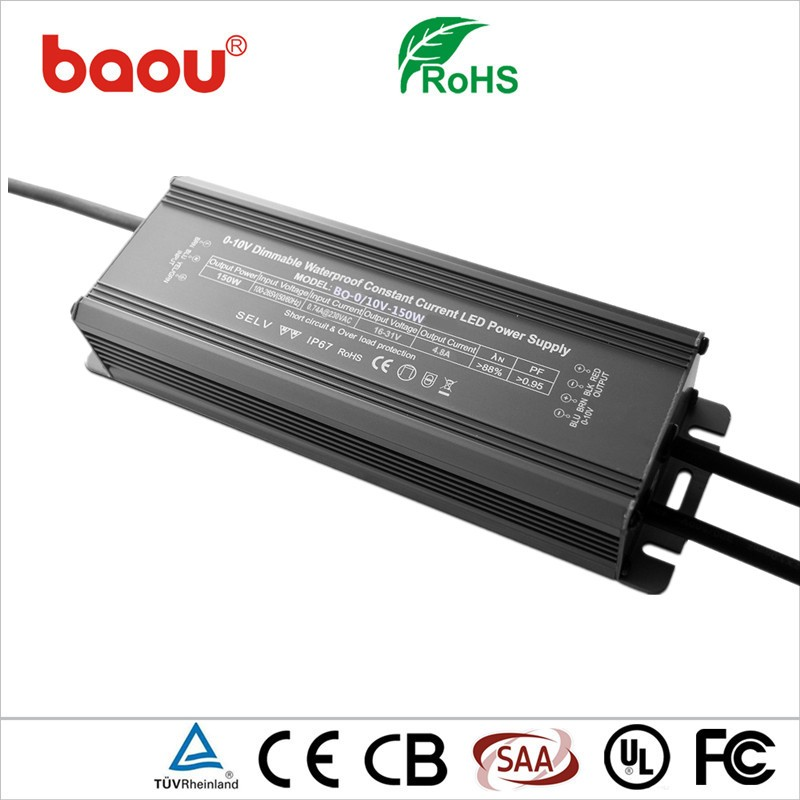 Baou 0-10V 150W Dimmable Led Driver Power Supply IP67