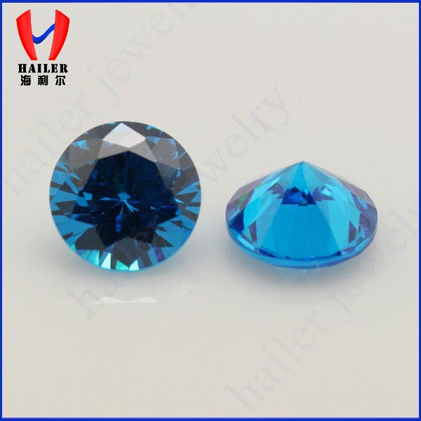 Diamond Cut Round Shape AAA Double Blue Aquamarine