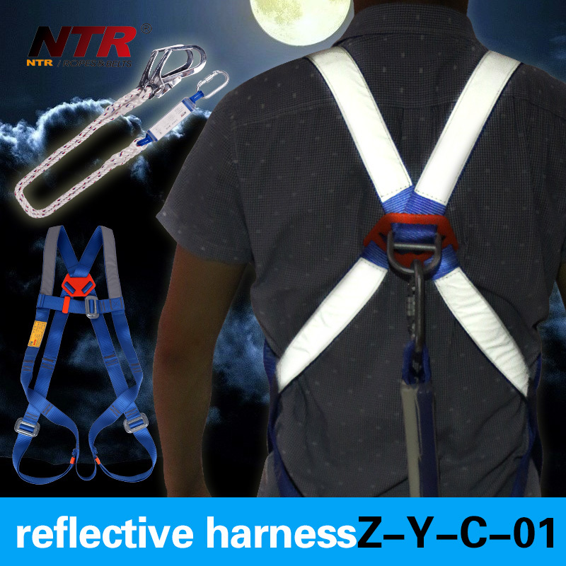 High strength polyester reflective safety belt with lanyards