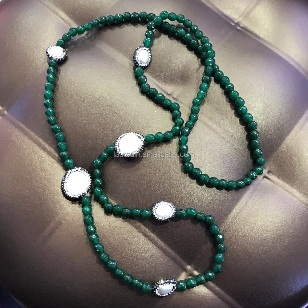 LS-D6693 New Arrival ! Dark green dyed jade beaded necklace, paved diamond necklace, crystal pearl necklace
