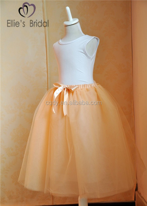 2015 cheap kids tutu long skirts for baby girl peach fluffy floor long tutu skirt for little girls fancy tutu with bowknot