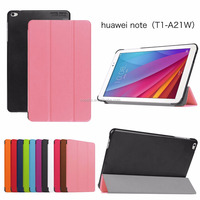 Trifold case For Huawei T1-A21W / T1 10.0, New Generation 2017 ultra thin Tri Folding PU Leather Flip Smart cover