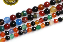 6/8/10/12/14mm Color India Agate Loose Beads For DIY Bracelet Necklace Jewelry Making