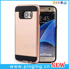Dual Layer Hair Line Rubberized Matte PC Cover Case For Samsung Galaxy S7 Edge Case