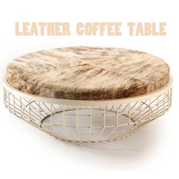 Living Room Eco-friendly Leather Top Cover Metal Wire Side Coffee Table