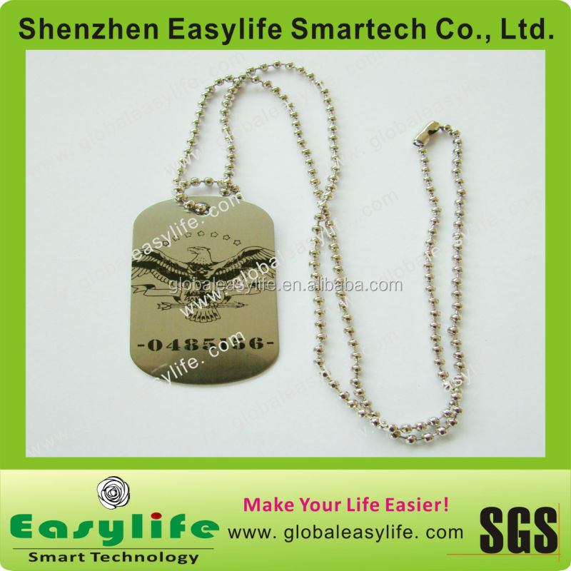 Decorative stainless steel mens dog tag necklace