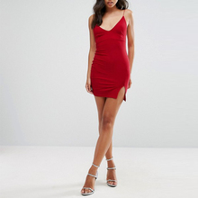 Sexy new design red slip decent club mini cami dress