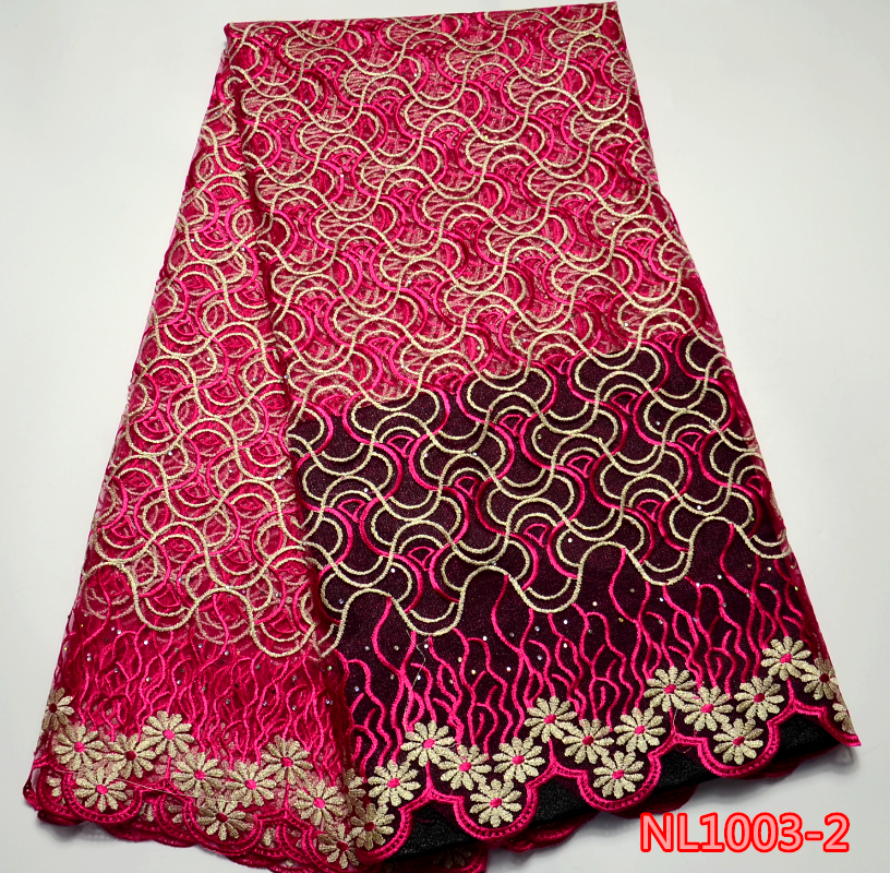 High quality african velvet lace/ real cotton lace fabric NL1003-2