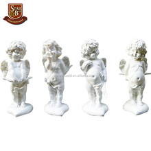 Handmade creative polyresin cupid white resin angel figurine charm home decoration