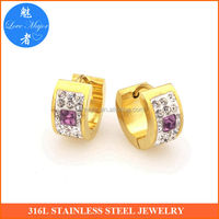womens gold plated purple diamond stainless setel huggie earrings jewellery